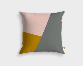 Basic GREY MUSTARD PINK cushion - Made in France - 45 x 45 cm