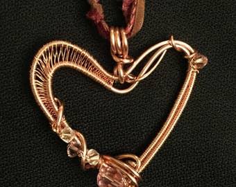 My heart pendant, wire weaving copper
