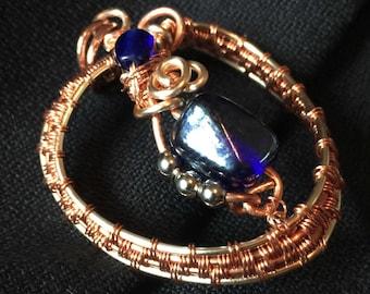 Pendant, Copper wire weaving, Heart #2