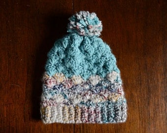 Teal/Rainbow Chunky Winter Hat