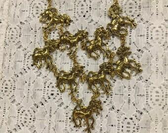 Horse Lover/Horses/Horse Statement Bib Goldtone Necklace Earring Set
