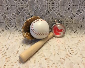 Boston Red Sox Baseball Key Chain/Red Sox Key Chain/Red Sox Key Ring/MLB Key Chain/MLB Key Ring/Baseball Key Chain/Boston Red Sox