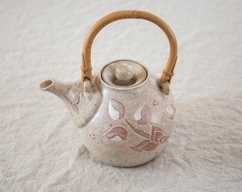 Vintage Hand-thrown Teapot with Bamboo Handle