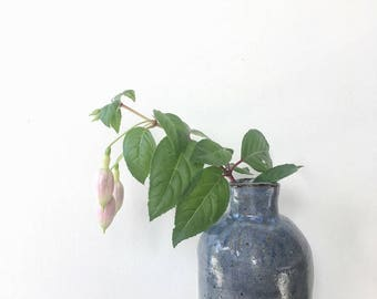 dark chocolate stoneware ceramic blue vase vessel flagon