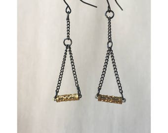 Metal Black and Gold Chain Dangle Earrings