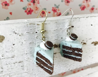 Mint Chocolate Chip Cake, Handmade Polymer Clay Miniature, Charm/Earrings/Necklace