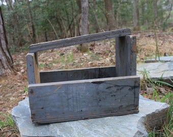 Antique Shoe Shine Box - Wood Tote - Wood Box - Farmhouse Decor - Primitive Decor - Rustic Organizer