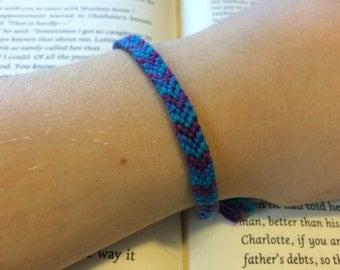 Purple Blue and Turquoise V-Stripe Patterned Friendship Bracelet / Bookmark