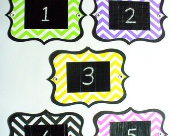 Chevron Chalkboard Labels - multi-use, colourful and re-usable with metal eyelets. Set of 6