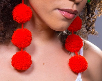 Triple Pom Pom Earrings/ Firetruck Red