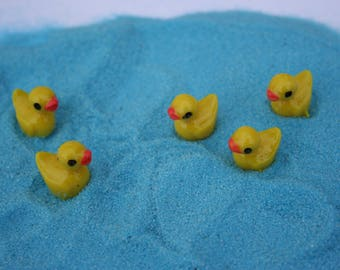5 Miniature yellow ducks fairy garden terrarium decoration