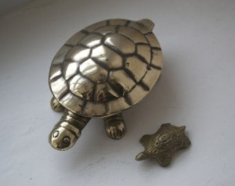 Vintage Brass Tortoise Trinket Box Hinged Lid with a baby