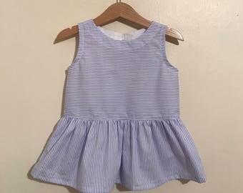 Girls Striped Peplum Dress / Baby Striped Peplum Dress