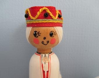 "Traditional Wooden Latvian Folk Peg Doll ""Lielvārde"" ~ FREE SHIPPING!"