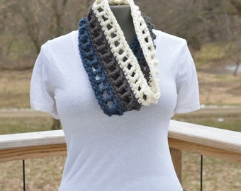 Chunky Neck Warmer Fashion Cowl Navy Blue Gray Off-White