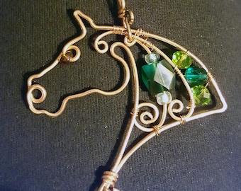 WIre work horse head necklace