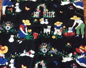 Scottie dog gardening fabric