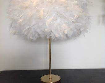 Medium white gold silver feather boudoir table lamp lampshade lighting
