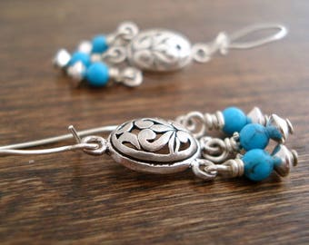 Turquoise Sterling Silver Chandelier Earrings, Filigree Earrings, Boho Drop Earrings, Bohemian Jewelry, Boucles D'Oreilles Turquoise