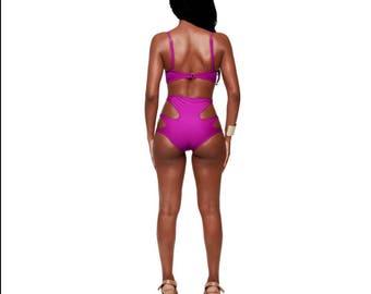 High waisted pink bikini