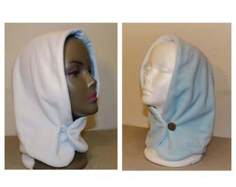 Reversible Hat-Hood, Monochrome (materials: plush fleece) For girls 3-6 years