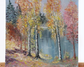 Original Oil Painting. Landscape painting. Lake Painting. Contemporary Fine Art.