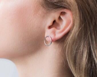 Open circle studs, circle post earrings, tiny circle studs, minimal circle studs, gift for her, women's circle studs, studs, earrings