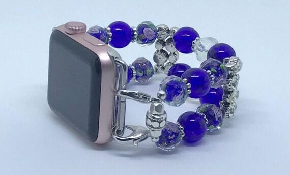 """Apple Watch Band, Women Bead Bracelet Watch Band, iWatch Strap, Apple Watch 38mm, Apple Watch 42mm, Pink Floral, Blue Size 6 1/4 - 6 1/2"""""""