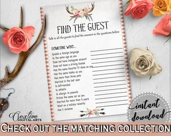 Antlers Flowers Bohemian Bridal Shower Find The Guest Game in Gray and Pink, party icebreaker, boho rustic shower, party plan - MVR4R
