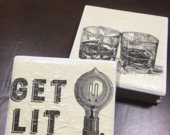 Get lit coasters