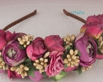 Hair band special occasion. smoky purple flowers.hand made