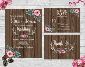 Rustic Wood Antlers With Flowers Wedding Invitation Set