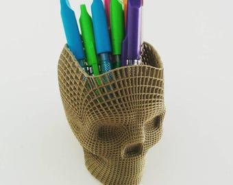 Skull pencil pot / wire
