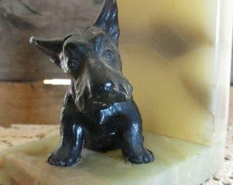 Marble, Scottish Terrier Dog Book End, Vintage