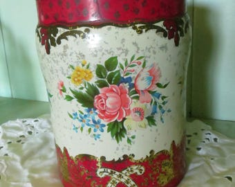 Decorative Vintage Tin with Lid, Roses, Red, Flowers, Unique, Farmhouse, Retro, Country