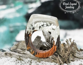 Resin wood ring, woden ring, rings for women, handcraft ring jewelry, statement ring wooden jewellery wood ring women Handcarved ring