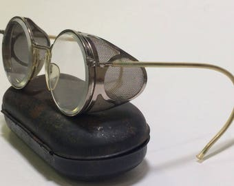 Antique Folding Cesco Glasses/ Goggles with Case