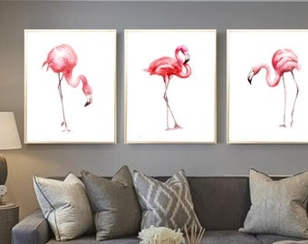 Flamingos watercolor print Set of 3 Art print Flamingos Wall decor Flamingos watercolor print Flamingos poster Flamingos wall decor