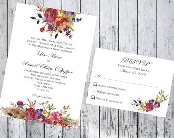 Fransua Floral Wedding Invitation and Respond Card