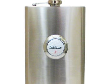 Item #40052 Stainless steel flask 8 oz. with golf ball