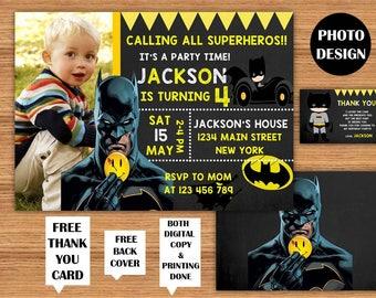 Batman Invitation Batman Photo Birthday Invitations Batman Kids Birthday Party Batman Invite Batman Birthday Printable Party Invitations