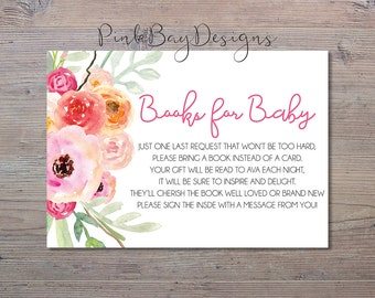 Watercolor Floral Books For Baby Insert, Baby Shower Printable, Floral Baby Shower, Baby Shower Print, Books For Baby, Little Girl Shower