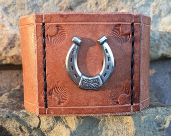Handmade Leather Cuff Wristband Wrap Macho Chunky Men's 8 inch Silver Horseshoe Natural Bracelet One-of-a-Kind Men's Gift Unique Made in USA