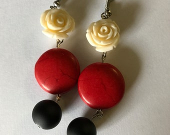 Red, Black and White Rose Drop Earrings