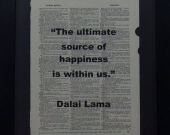 Source of Happiness, Dalai Lama, Vintage, Wall Decor, Inspirational, Upcycled Art, Dictionary Art, Gift, Collage, Dictionary Page