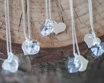Bridesmaid Necklace Set of 5 Personalized Heart Charm Necklaces Swarovski Crystal Necklace Sterling Silver Heart Charm for Bridesmaid Gift
