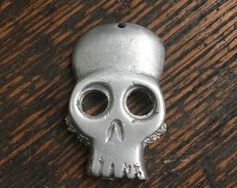 Skull Necklace, Skull Pendant, Skull Charm, Skull Keychain, Aluminum Skull, Metal Skull, Skull Jewelry, Old Skull Necklace, Bone Necklace