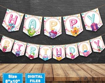 Shopkins banner, shopkins birthday banner, shopkins birthday party, shopkins party supplies, shopkins instant download, shopkins printable.
