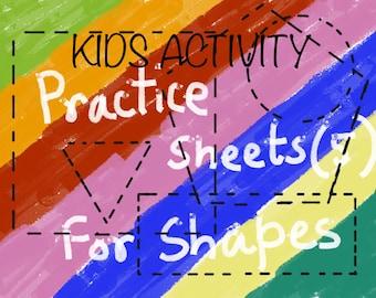 Kids Home Activity - Kids Practice Sheet - Instant Download Worksheets - Preschool - Kindergarten - Toddlers - Drawing - Shape Practice