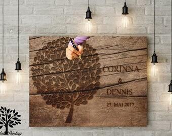 70 x 50 vintage guestbook - wedding tree, wedding tree, memory, wood motif's guestbook